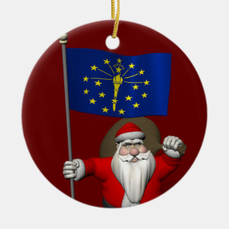 Santa Claus With Ensign Of Indiana Ceramic Ornament