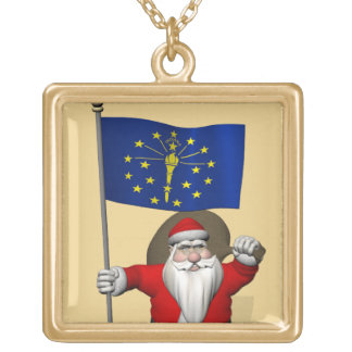 Santa Claus With Ensign Of Indiana Gold Plated Necklace