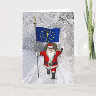 Santa Claus With Ensign Of Indiana Holiday Card