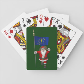 Santa Claus With Ensign Of Indiana Playing Cards