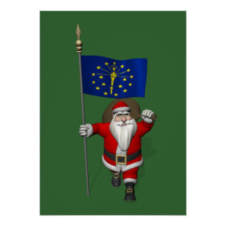 Santa Claus With Ensign Of Indiana Poster