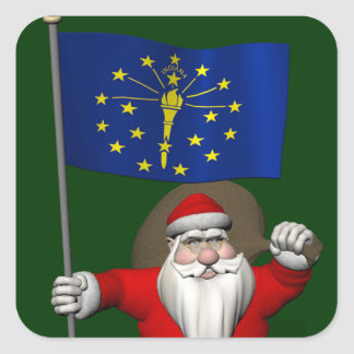 Santa Claus With Ensign Of Indiana Sticker