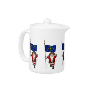 Santa Claus With Ensign Of Indiana Teapot
