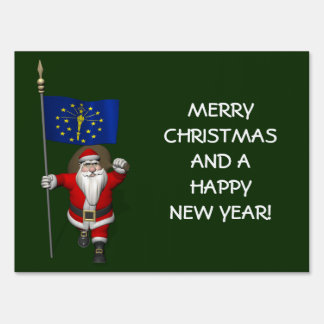 Santa Claus With Ensign Of Indiana Yard Sign