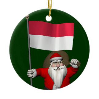Santa Claus With Ensign Of Indonesia Ceramic Ornament