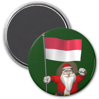 Santa Claus With Ensign Of Indonesia Magnet