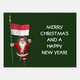 Santa Claus With Ensign Of Indonesia Sign