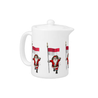 Santa Claus With Ensign Of Indonesia Teapot
