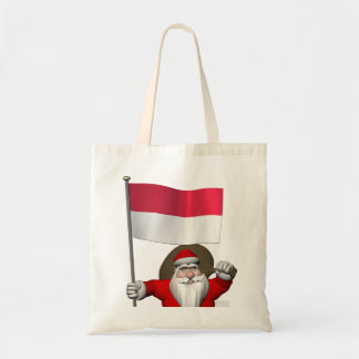 Santa Claus With Ensign Of Indonesia Tote Bag