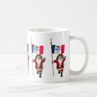 Santa Claus With Ensign Of Iowa Coffee Mug