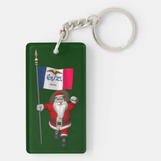 Santa Claus With Ensign Of Iowa Keychain