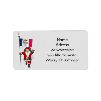 Santa Claus With Ensign Of Iowa Label