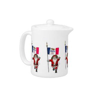 Santa Claus With Ensign Of Iowa Teapot