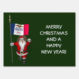 Santa Claus With Ensign Of Iowa Yard Sign