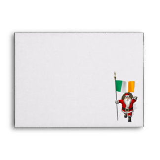 Santa Claus With Ensign Of Ireland Envelope