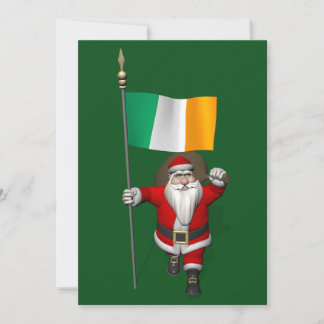 Santa Claus With Ensign Of Ireland Holiday Card