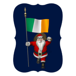 Santa Claus With Ensign Of Ireland Personalized Announcements