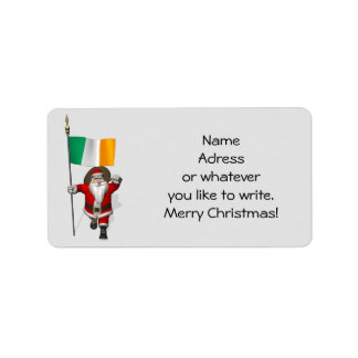 Santa Claus With Ensign Of Ireland Label