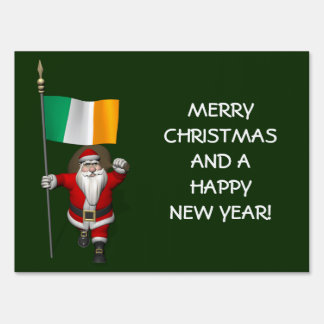 Santa Claus With Ensign Of Ireland Lawn Sign