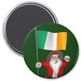 Santa Claus With Ensign Of Ireland Magnet