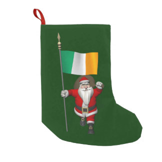 Santa Claus With Ensign Of Ireland Small Christmas Stocking
