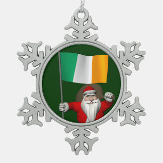 Santa Claus With Ensign Of Ireland Snowflake Pewter Christmas Ornament
