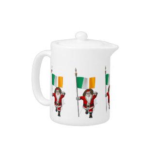 Santa Claus With Ensign Of Ireland Teapot
