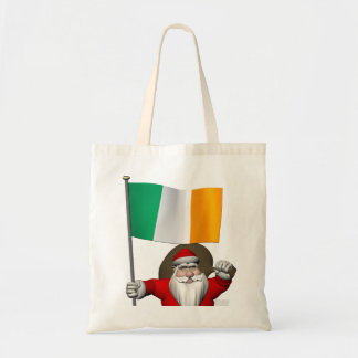 Santa Claus With Ensign Of Ireland Tote Bag