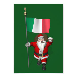 Santa Claus With Ensign Of Italy Card