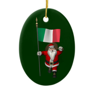 Santa Claus With Ensign Of Italy Ceramic Ornament