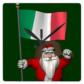 Santa Claus With Ensign Of Italy Square Wallclock