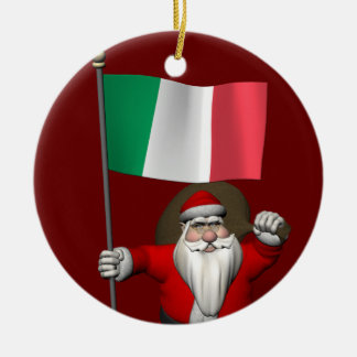 Santa Claus With Ensign Of Italy Double-Sided Ceramic Round Christmas Ornament