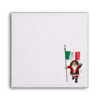 Santa Claus With Ensign Of Italy Envelope