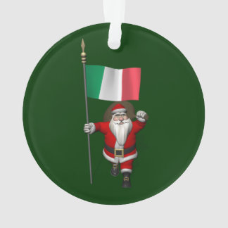 Santa Claus With Ensign Of Italy Ornament