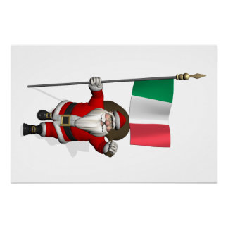 Santa Claus With Ensign Of Italy Poster