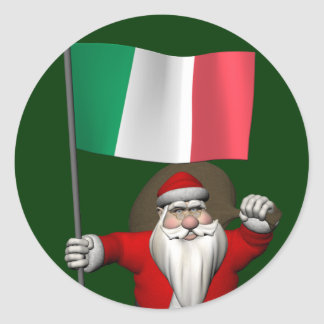 Santa Claus With Ensign Of Italy Round Sticker