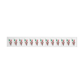 Santa Claus With Ensign Of Italy Wrap Around Label