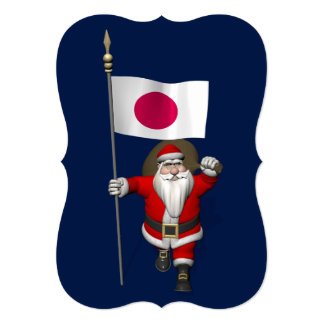 Santa Claus With Ensign Of Japan Card