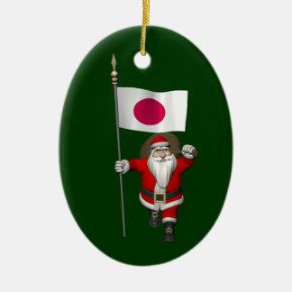 Santa Claus With Ensign Of Japan Ceramic Ornament