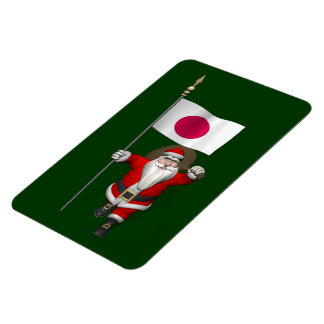Santa Claus With Ensign Of Japan Magnet