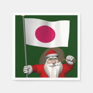 Santa Claus With Ensign Of Japan Paper Napkin