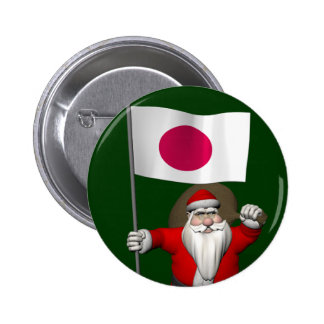 Santa Claus With Ensign Of Japan Pinback Button