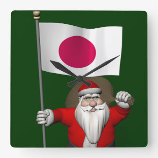 Santa Claus With Ensign Of Japan Square Wall Clock