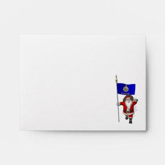 Santa Claus With Ensign Of Kansas Envelopes