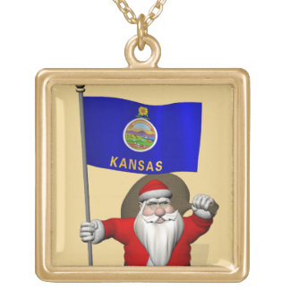 Santa Claus With Ensign Of Kansas Gold Plated Necklace
