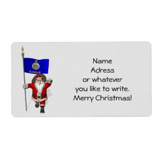 Santa Claus With Ensign Of Kansas Label