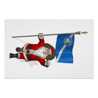 Santa Claus With Ensign Of Las Vegas Poster
