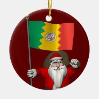 Santa Claus With Ensign Of Los Angeles CA Ceramic Ornament