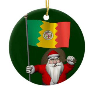 Santa Claus With Ensign Of Los Angeles Ceramic Ornament