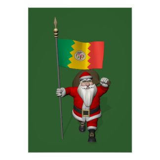 Santa Claus With Ensign Of Los Angeles Poster